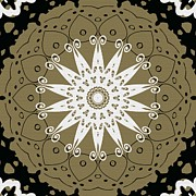 Repetition Prints - Coffee Flowers 9 Olive Ornate Medallion Print by Angelina Vick