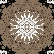 Rosette Posters - Coffee Flowers 9 Ornate Medallion Poster by Angelina Vick