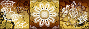 Mandalas Digital Art - Coffee Flowers Calypso Triptych 2 Horizontal   by Angelina Vick