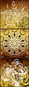 Mandalas Digital Art - Coffee Flowers Calypso Triptych 3 Vertical by Angelina Vick