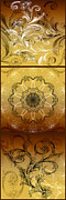 Mandalas Digital Art - Coffee Flowers Calypso Triptych 4 Vertical by Angelina Vick