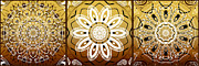 Mandalas Digital Art - Coffee Flowers Medallion Calypso Triptych 2  by Angelina Vick