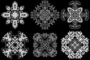 Rosette Digital Art Prints - Coffee Flowers Ornate Medallions BW 6 Peice Collage Print by Angelina Vick