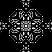 Rosette Posters - Coffee Flowerss 11 BW Ornate Medallion Poster by Angelina Vick