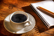 Ceramic Metal Prints - Coffee for the Writer Metal Print by Olivier Le Queinec