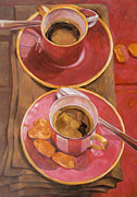Two Coffee Cups Framed Prints - Coffee For Two Framed Print by Anke Classen