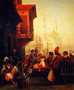High Society Posters - Coffee House By The Ortakoy Mosque In Constantinople 1846 Poster by MotionAge Art and Design - Ahmet Asar