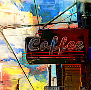 Self Taught Prints - Coffee In Portland Print by Sherry Dooley
