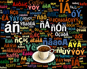 Fun Mixed Media Posters - Coffee Language Poster by Bedros Awak