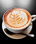 Spoon Metal Prints - Coffee latte with foam art Metal Print by Elena Elisseeva
