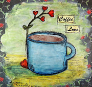 Coffee Cup Posters - Coffee Love Poster by Lauretta Curtis