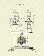Coffee Drawings Prints - Coffee Mill 1875 Patent Art Print by Prior Art Design