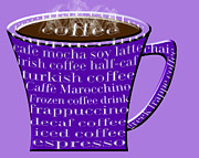 Decaf Prints - Coffee Mug Purple Typography Print by Andee Photography