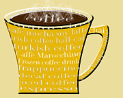 Decaf Prints - Coffee Mug Yellow Typography Print by Andee Photography