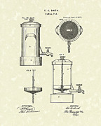 Pot Drawings Metal Prints - Coffee Pot 1875 Patent Art Metal Print by Prior Art Design