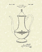 Pot Drawings Metal Prints - Coffee Pot 1926 Patent Art Metal Print by Prior Art Design