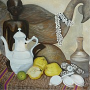 Bohemian Drawings - Coffee Pot by Helen Syron