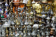 Coffee Pot Framed Prints - Coffee Pots at the Grand Bazaar in Istanbul Turkey Framed Print by Robert Preston