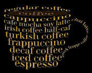 Decaf Prints - Coffee Shoppe Coffee Names Black 1 Typography Print by Andee Photography