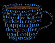 Decaf Prints - Coffee Shoppe Coffee Names Black 2 Typography Print by Andee Photography