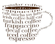 Decaf Prints - Coffee Shoppe Coffee Names Typography Print by Andee Photography