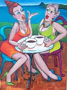Coffee Drinking Painting Posters - Coffee Time  Poster by Heather Leonard