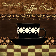 Caffe Latte Posters - Coffee Time Poster by Lourry Legarde