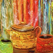 Liquid Painting Prints - Coffee Trio Print by Trish Bilich