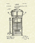 Pot Drawings Metal Prints - Coffee Urn 1890 Patent Art Metal Print by Prior Art Design
