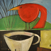 Coffee Cup Animal Posters - coffee with red bird II Poster by Tim Nyberg