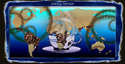 Map Of The World Digital Art Originals - Coffee World by Daniel Janda