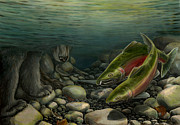 Salmon Painting Posters - Coho Fishing Poster by Kim Hunter