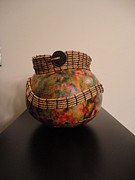 Seagrass Sculptures - Coiled Colorful Bowl by Carrie Cervantes