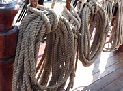 Frigates Photos - Coiled Ships Rope by Deborah Smolinske
