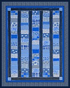 Quilt Blue Blocks Posters - Coin Quilt -  Painting - Blue Patches Poster by Barbara Griffin