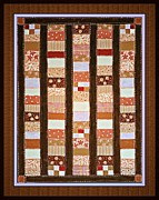 Quilt Blocks Framed Prints - Coin Quilt -  Painting - Brown and White Patches Framed Print by Barbara Griffin