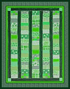 Quilt Blue Blocks Posters - Coin Quilt - Painting - Green Patches Poster by Barbara Griffin
