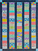 Quilt Blue Blocks Prints - Coin Quilt -  Painting - Multicolored Patches Print by Barbara Griffin