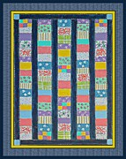 Quilt Blue Blocks Posters - Coin Quilt -  Painting - Multicolors - Borders Poster by Barbara Griffin