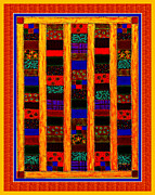 Quilt Blocks Digital Art Prints - Coin Quilt -  Painting - Orange Patches Print by Barbara Griffin