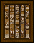 Quilt Blocks Digital Art Prints - Coin Quilt - Painting - Sepia Patches Print by Barbara Griffin