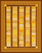 Quilt Blue Blocks Prints - Coin Quilt -  Painting - Yellow Patches Print by Barbara Griffin