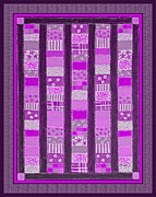 Quilt Blocks Digital Art Prints - Coin Quilt - Quilt Painting - Magenta Patches Print by Barbara Griffin