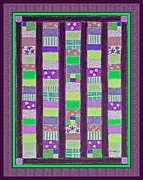 Green Posts Quilt Prints - Coin Quilt - Quilt Painting - Purple and Green Patches Print by Barbara Griffin