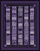 Quilt Blocks Framed Prints - Coin Quilt -Quilt Painting - Purple Patches Framed Print by Barbara Griffin