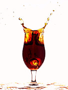 Wine Flowing Posters - Coke splashing in the cup liquid art Poster by Paul Ge
