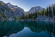 Lake Framed Prints - Colchuck Morning Reflection Framed Print by Mike Reid