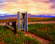 Telephone Booth Posters - Cold Bay Ferry Service Poster by Michael Pickett