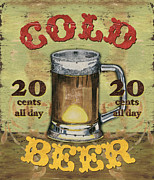 Vintage Sign Prints - Cold Beer Print by Debbie DeWitt