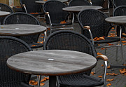 Empty Chairs Prints - Cold Coffee Print by Odd Jeppesen